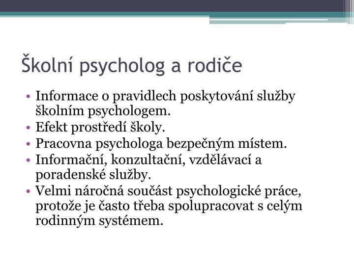 Školní psycholog a rodiče