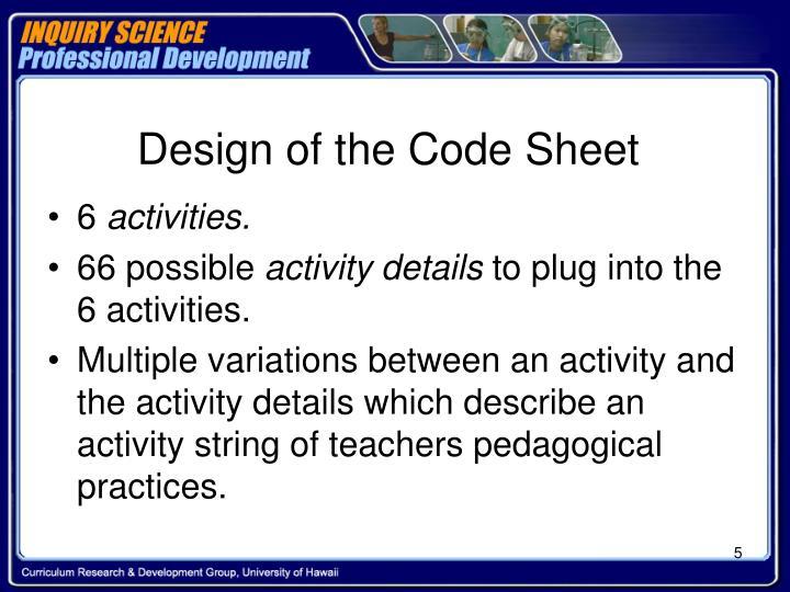 Design of the Code Sheet