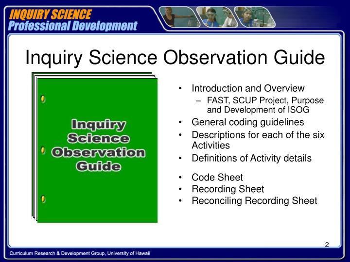 Inquiry science observation guide