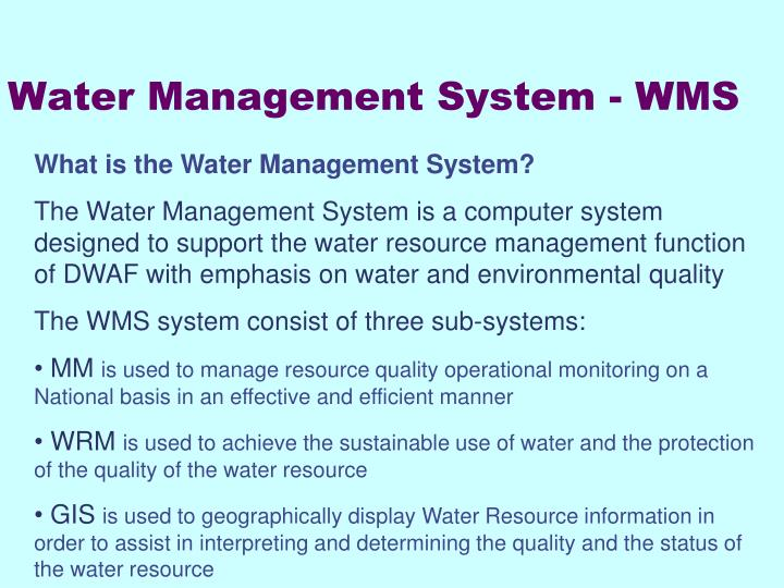 water management system wms n.