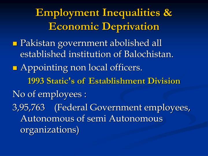 Employment Inequalities & Economic Deprivation
