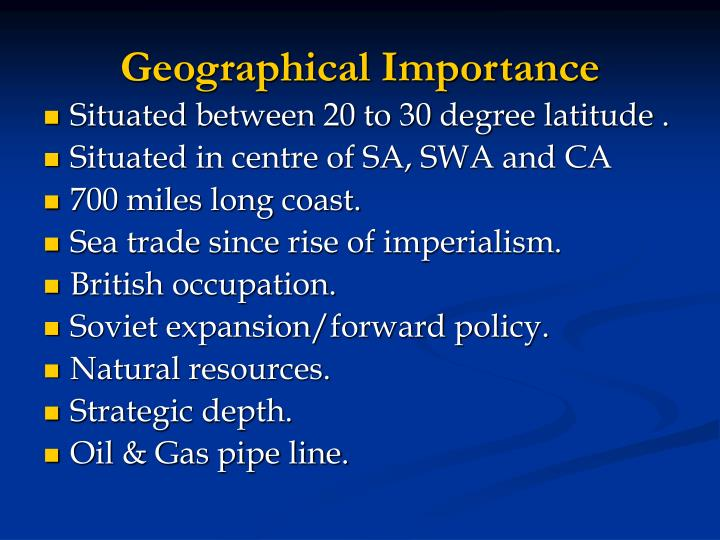 Geographical Importance