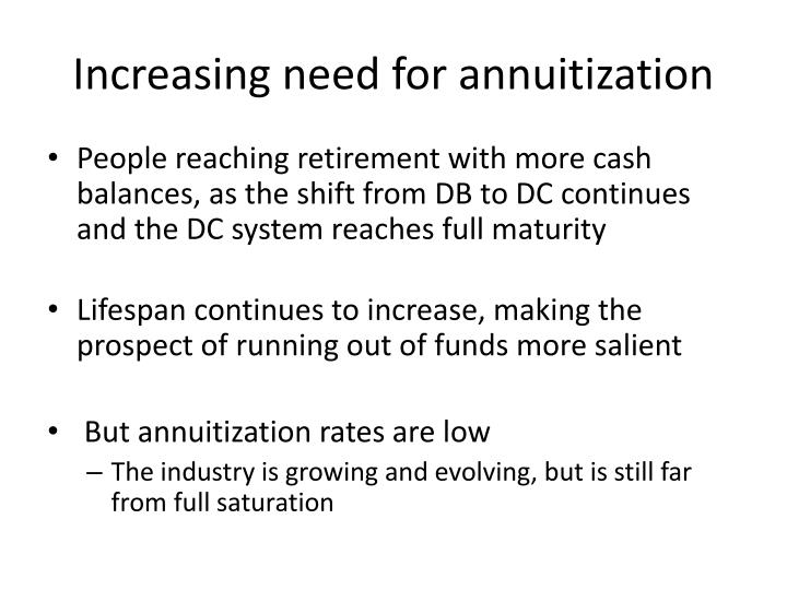 Increasing need for annuitization