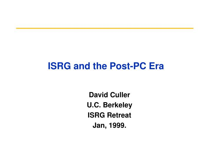 Isrg and the post pc era