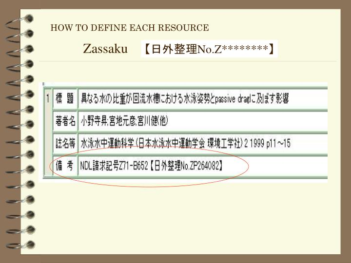 HOW TO DEFINE EACH RESOURCE