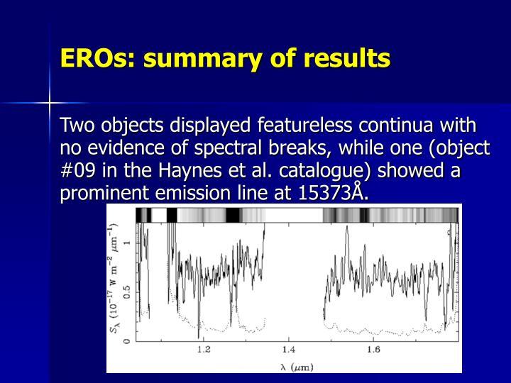 EROs: summary of results