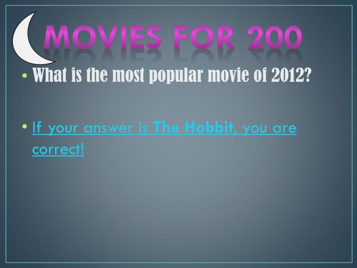 Movies for 200