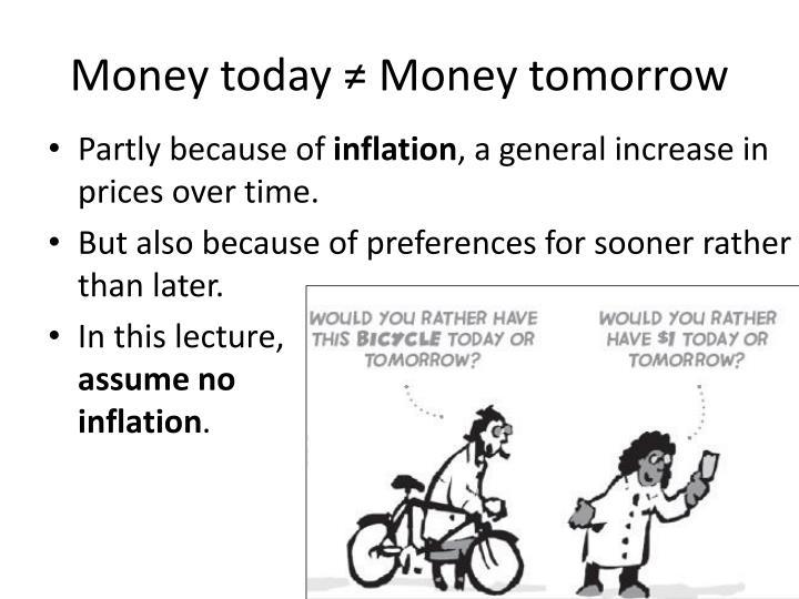Money today money tomorrow