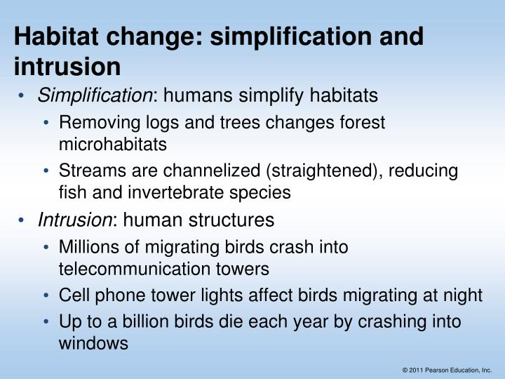 Habitat change: simplification and intrusion