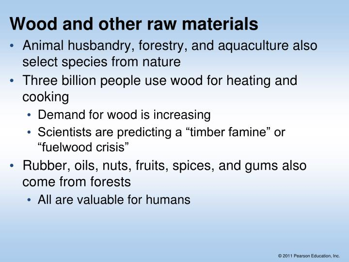 Wood and other raw materials
