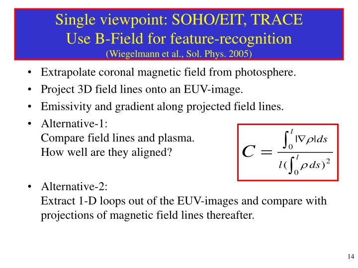 Single viewpoint: SOHO/EIT, TRACE