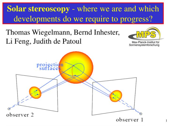 Solar stereoscopy where we are and which developments do we require to progress