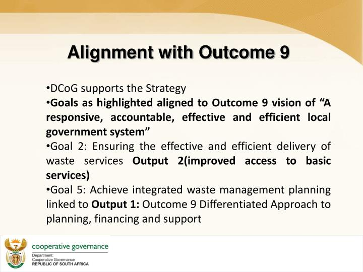 Alignment with Outcome 9