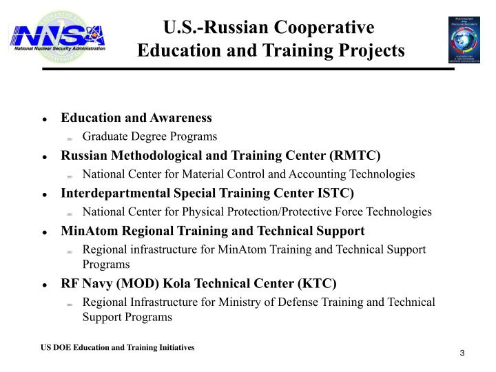 U s russian cooperative education and training projects