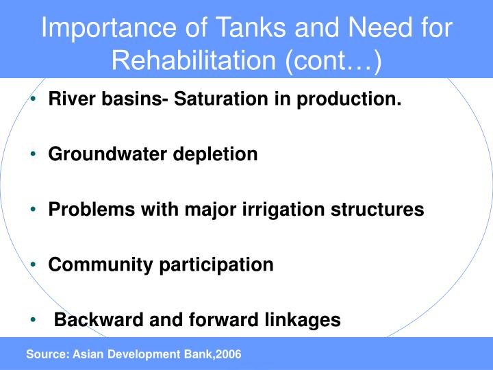 Importance of Tanks and Need for Rehabilitation (cont…)