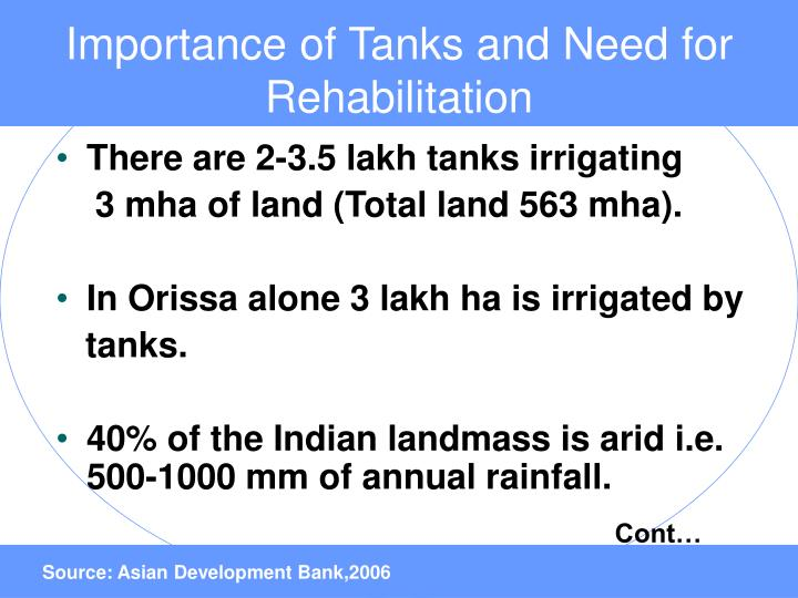 Importance of Tanks and Need for Rehabilitation