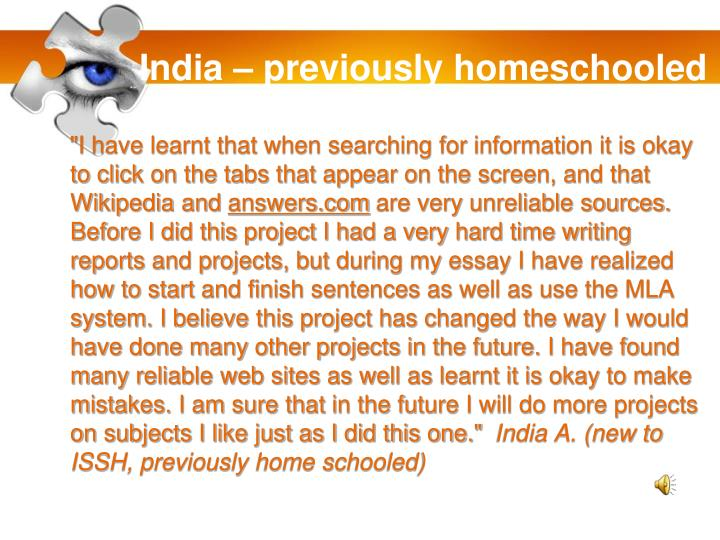 India – previously homeschooled