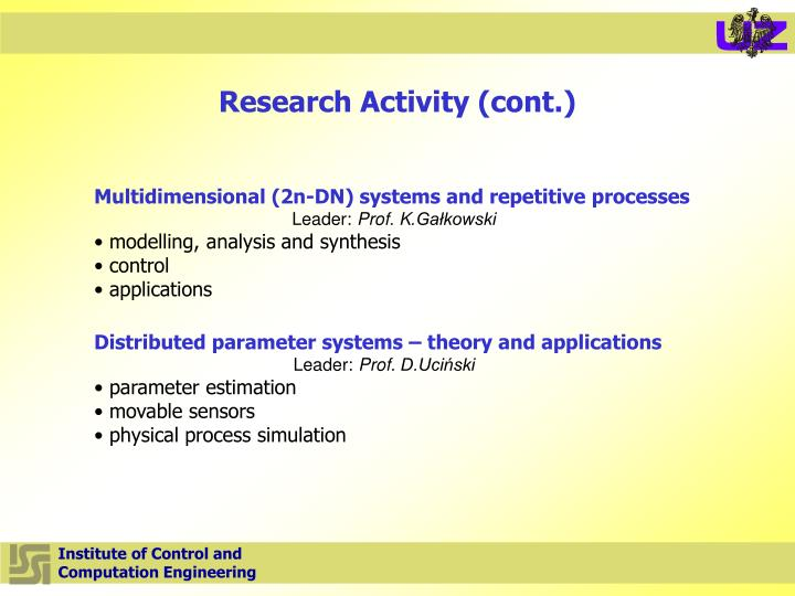 Research Activity (cont