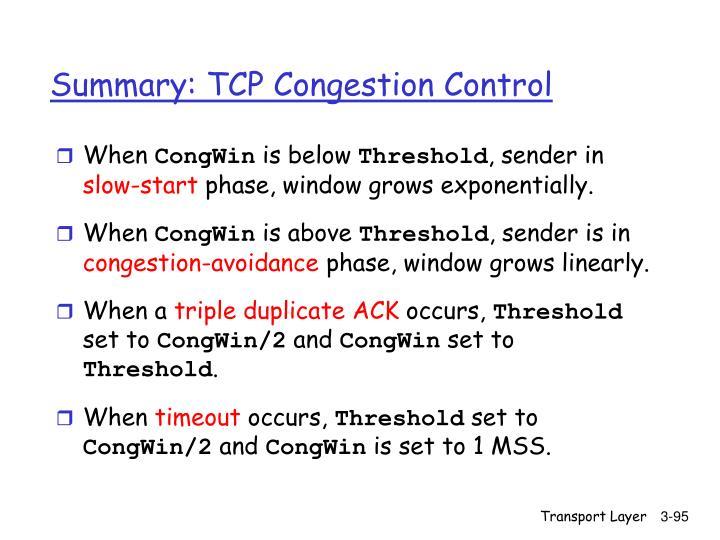 Summary: TCP Congestion Control