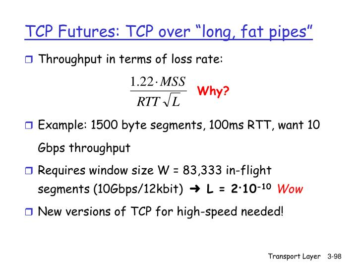 """TCP Futures: TCP over """"long, fat pipes"""""""