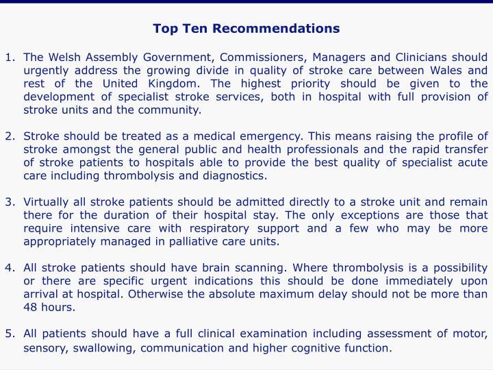 Top Ten Recommendations