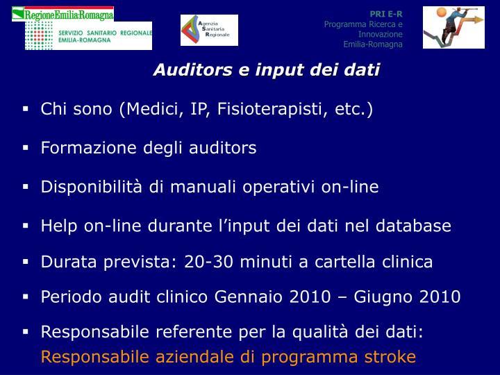 Auditors e input dei dati