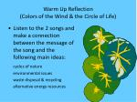 warm up reflection colors of the wind the circle of life