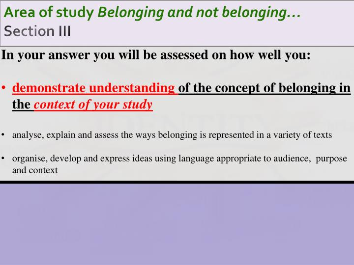 area of study belonging and not belonging section iii n.