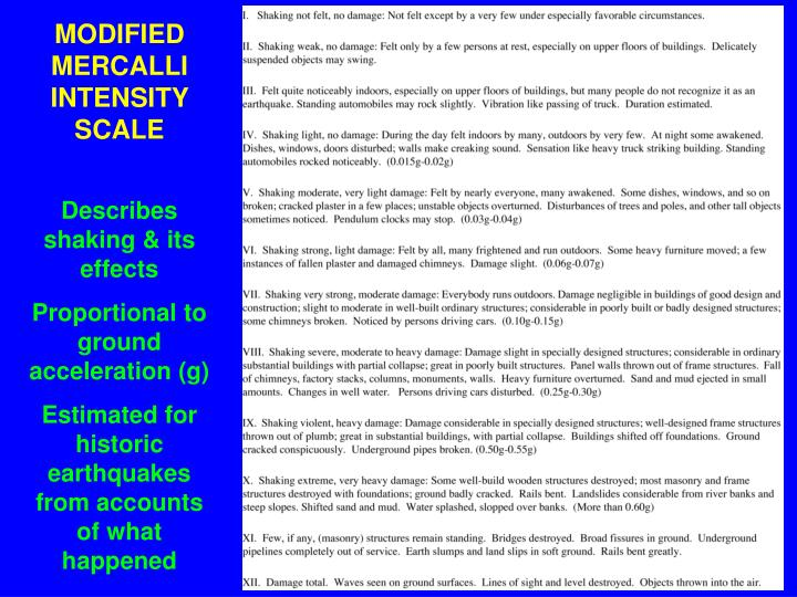 MODIFIED MERCALLI INTENSITY SCALE