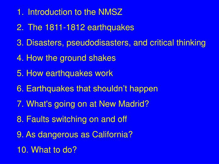 Introduction to the NMSZ