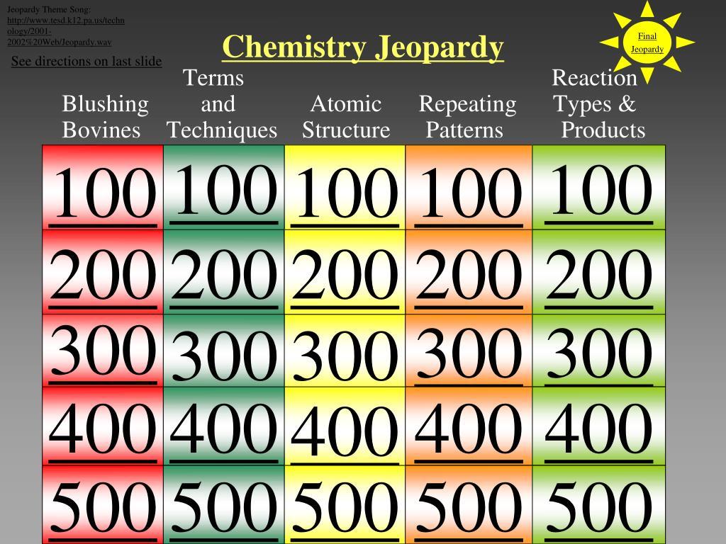 PPT - Chemistry Jeopardy PowerPoint Presentation - ID:5175658