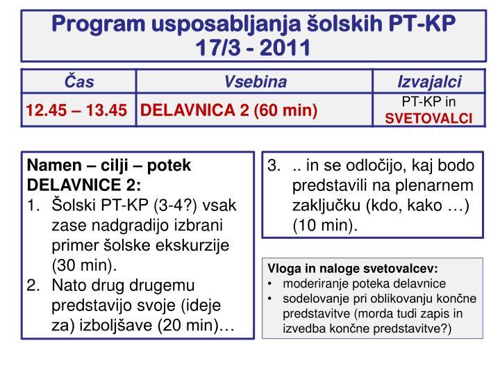 Program usposabljanja šolskih PT-KP 17/3 - 2011