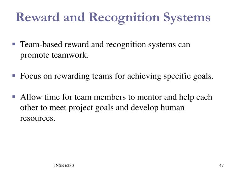 Reward and Recognition Systems