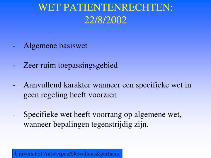 Wet patientenrechten 22 8 2002