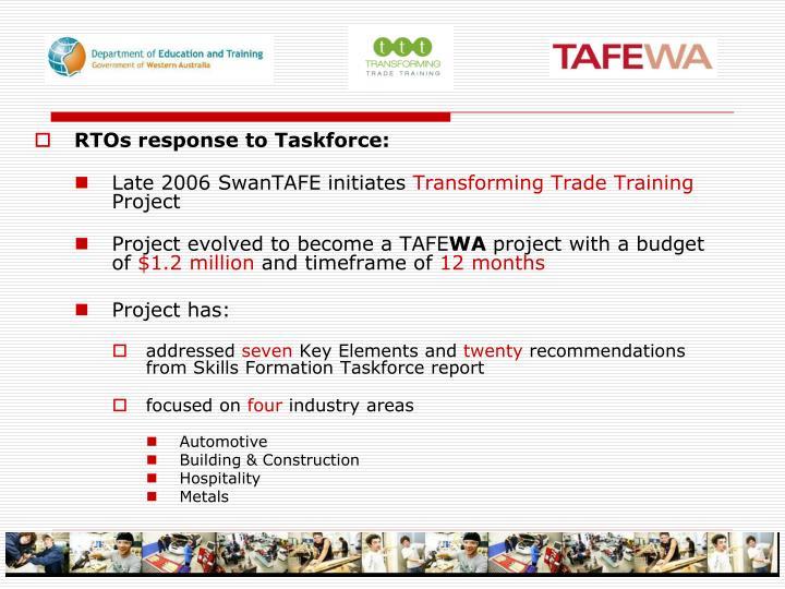 RTOs response to Taskforce: