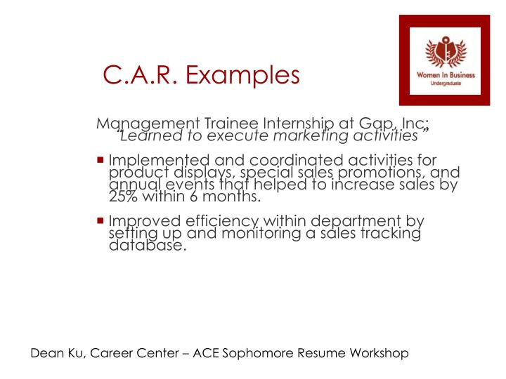C.A.R. Examples