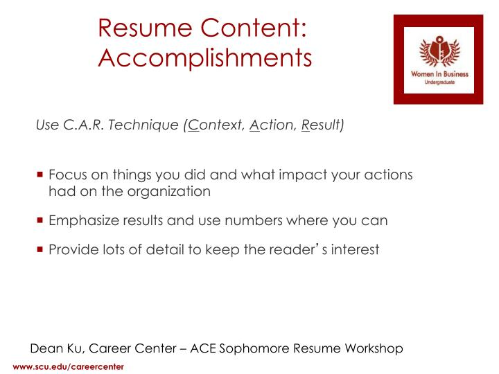 Resume Content: Accomplishments