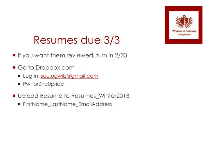Resumes due 3/3