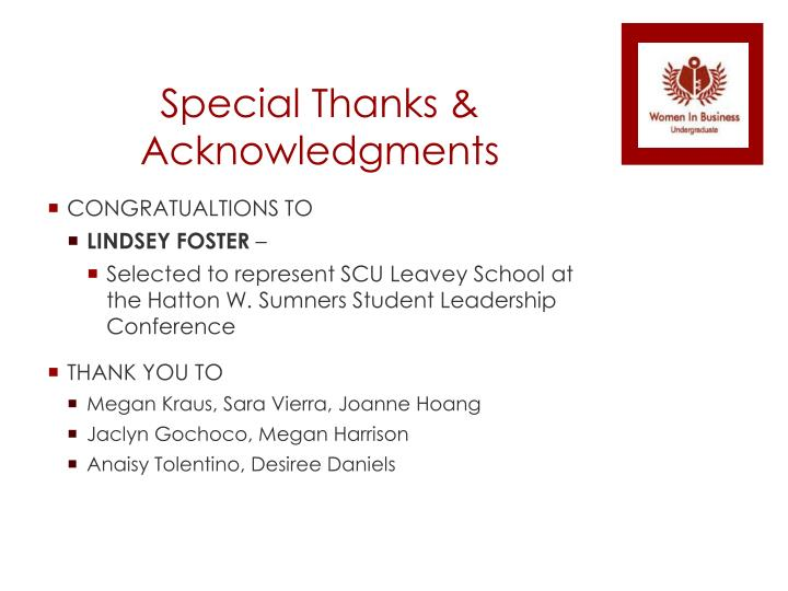 Special thanks acknowledgments