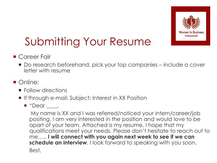 Submitting Your Resume