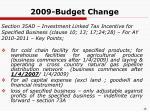 2009 budget change