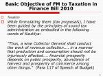 basic objective of fm to taxation in finance bill 2010
