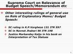 supreme court on relevance of budget speech memorandum etc1