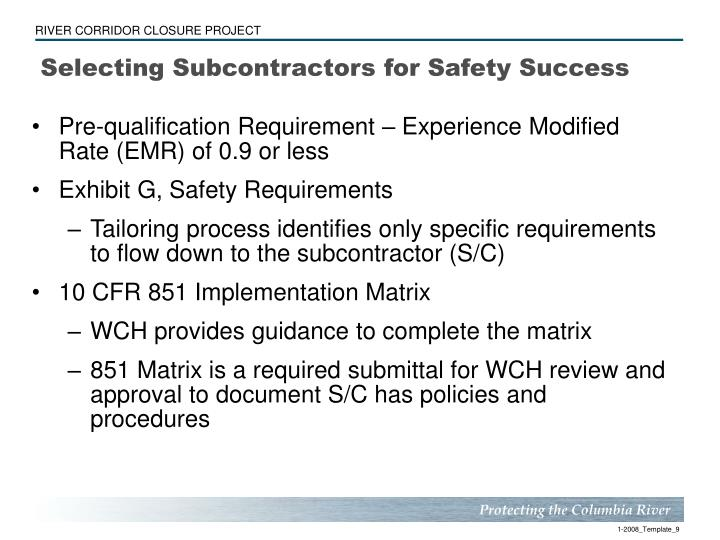 Selecting Subcontractors for Safety Success