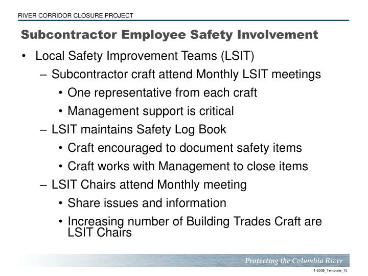 Subcontractor Employee Safety Involvement