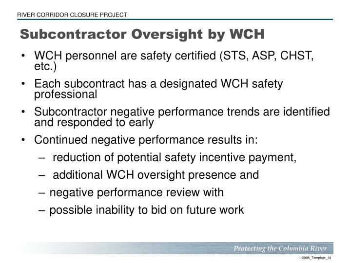 Subcontractor Oversight by WCH