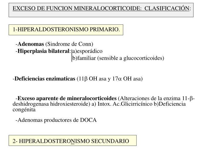 EXCESO DE FUNCION MINERALOCORTICOIDE:  CLASIFICACIÓN