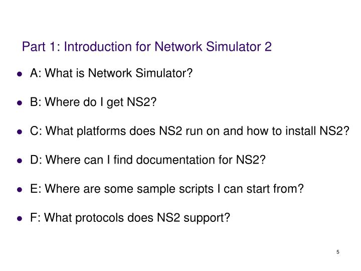 Part 1: Introduction for Network Simulator 2