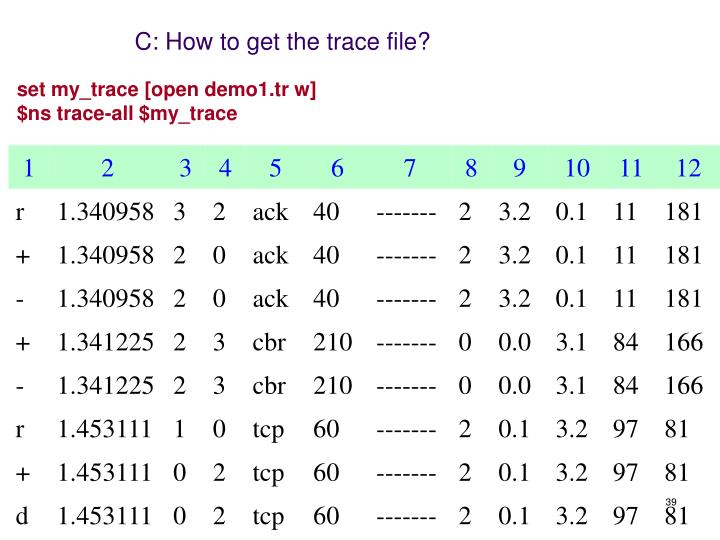 C: How to get the trace file?