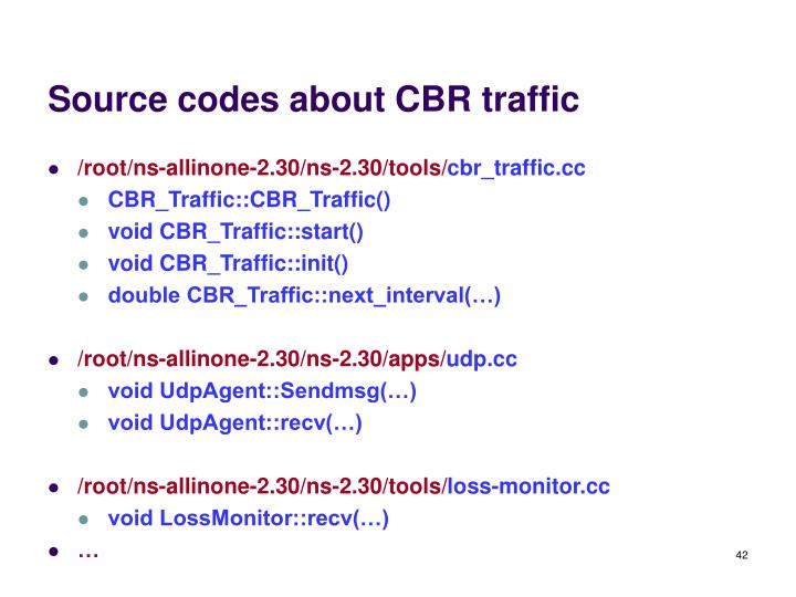 Source codes about CBR traffic